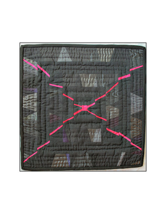 Minimal modern quilt x-cross in black and fuchsia
