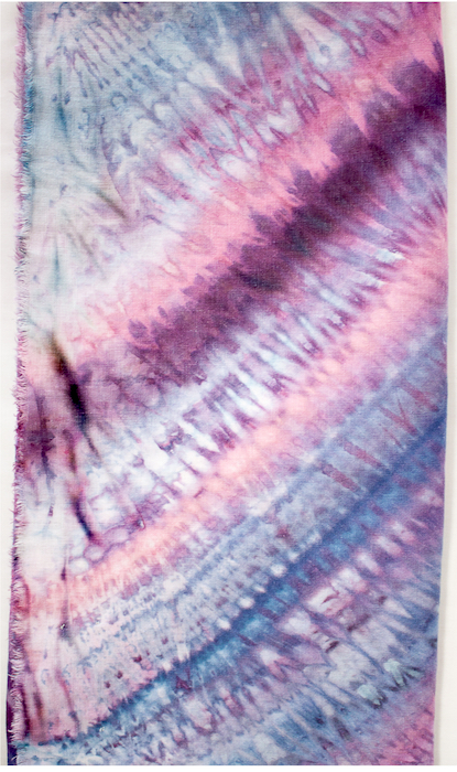 snow dyed natural fibre scarf in linen and rayon hand dyed by doris lovadina-lee