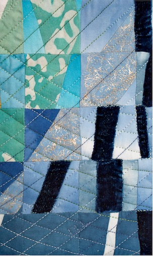 Detail of Summer - Over Ice quilt showing quilting and fabrics by doris lovadina-lee