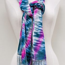 woman's handyed shibori scarf one of a kind made toronto ontario canada