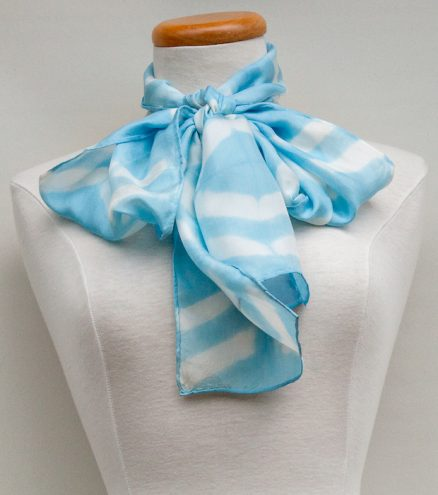 silk scarf pussy bow hand dyed itajime shibori gift for women
