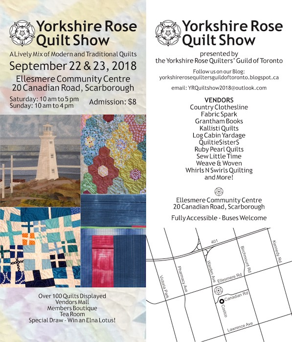 Yorkshire Rose Quilters' Guild of Toronto Quilt show poster 2018