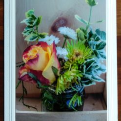 floral bouquet with red and yellow rose photography on blank greeting card