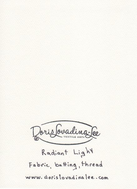 radiant light chakra quilt and doris lovadina-lee logo back of card