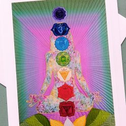 fine art greeting card with photograph of radiant light chakra quilt by toronto artist doris lee