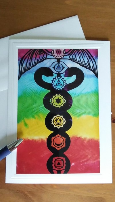 The Vibrant Path Chakra quilt photograph on front of blank note card by doris lovadina-lee