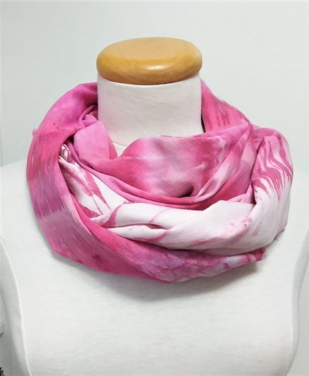 fuchsia pink scarf wrapped in cowl snow dyed by doris lovadina-lee