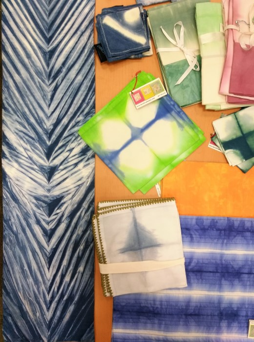 indoigo table runners, placemats, napkins hand dyed by doris lovadima-lee hostess gift canadian made