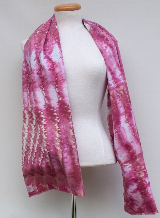 pink shibori snowdyed scarf for woman hand dyed by doris lovadina-lee