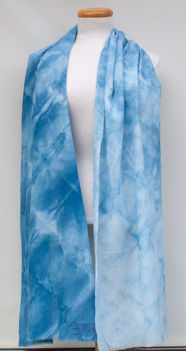 pale blue soft cotton rayon scarf for woman shibori hand dyed toronto ontario canada