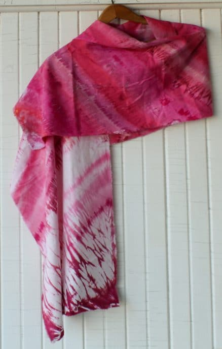 women's pink shibori hand dyed with snow scarf uniquely made in canada