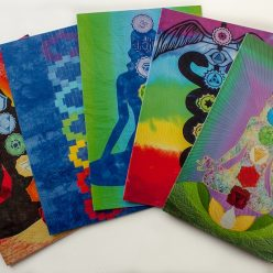 set of 5 blank note cards with photos of chakra quilts by doris lovadina-lee toronto textile artist