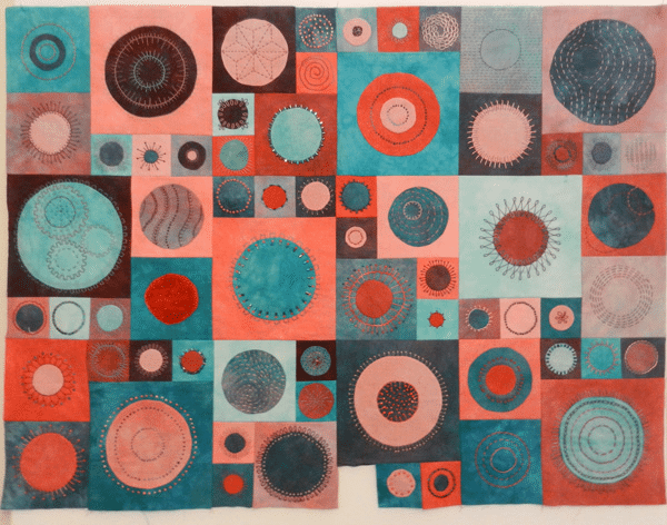 Sixty-five circles quilt for her 65th birthday by Linda McLaughlin 2012