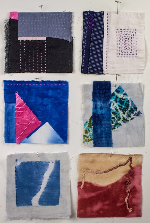 second month of the 100 day stitch meditation project with 6 five inch squares by doris lovadina-lee toronto artist