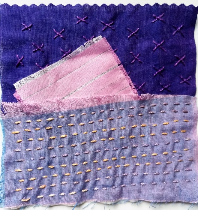 5 inch stitch meditation using Oakshott cotton fabric and hand dyed perle cotton, running and cross stitches