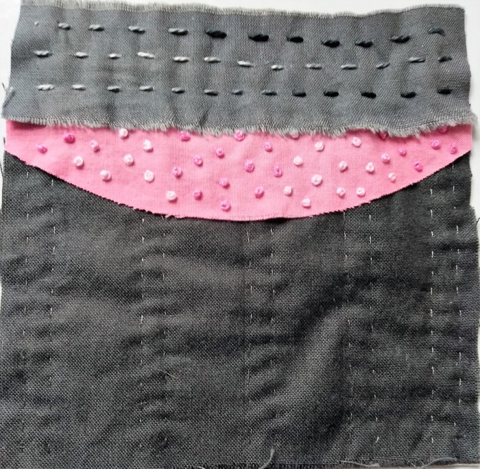 5 inch stitch meditation with grey shot cotton and hand dyed pink cotton fabrics, running stitches and french knots