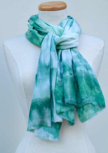 casual cotton hand dyed green scarf made in toronto doris lee