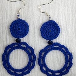 Royal blue crochet chandelier drop earringd made by @maria.n.designs toronto ontario canada