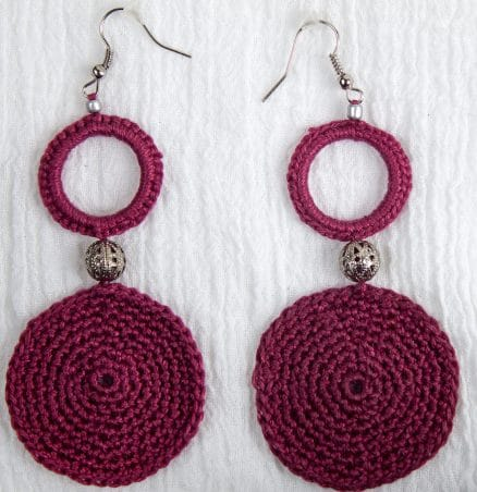 wine cotton crochet earrings two circles with silver filigree bead by maria nunes