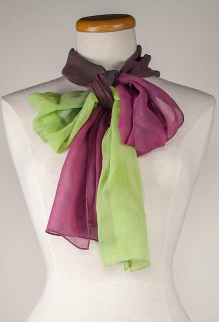 soft bow tied in silk chiffon hand dyed dorislovadina-lee toronto