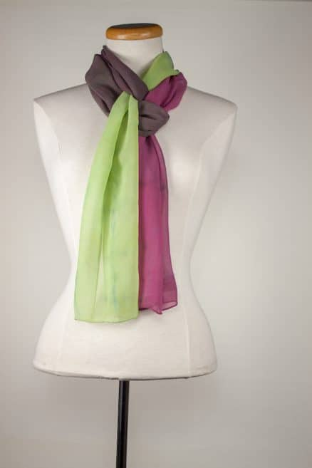 silky sheer hand dyed scarf grey, plum, soft green