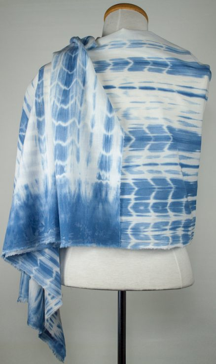 Indigo striped cotton scarf with solid blue border