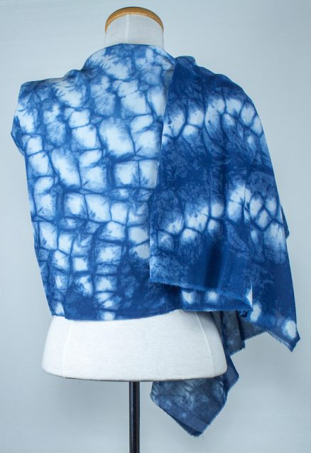 back view of cotton rayon indigo dyed scarf by textile artist doris lovadina-lee