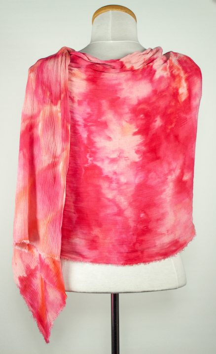 back view of crinkle scarf in shades of red and pink snow dyed in toronto ontario canada