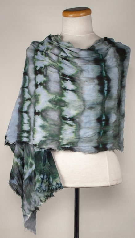 front of crinkle scarf draped linen and rayon by doris lovadina-lee green and gray