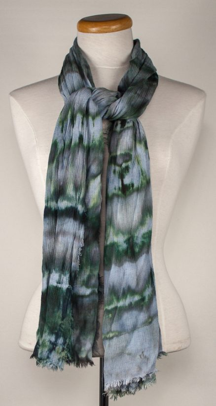 Travel scarf made with linen/rayon blend greys green