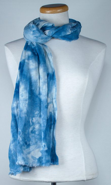 Storm Front blue rayon crinkle travel scarf snow dyed in canada