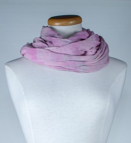 twisted soft pink travel scarf in linen and rayon snow dyed