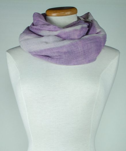 Hand dyed with snow shawl Canadian gift for woman wrapped around neck