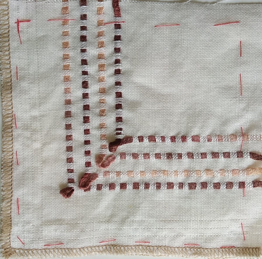 White linen stitch meditation with drawn work and hand dyed ribbon insterts by Doris Lovadina-Lee toronto quilter