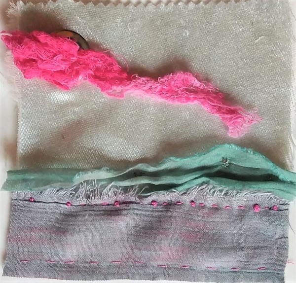 Hand dyed fabrics embroidered onto 5 inch square by doris lovadina-lee textile artist Toronto canada