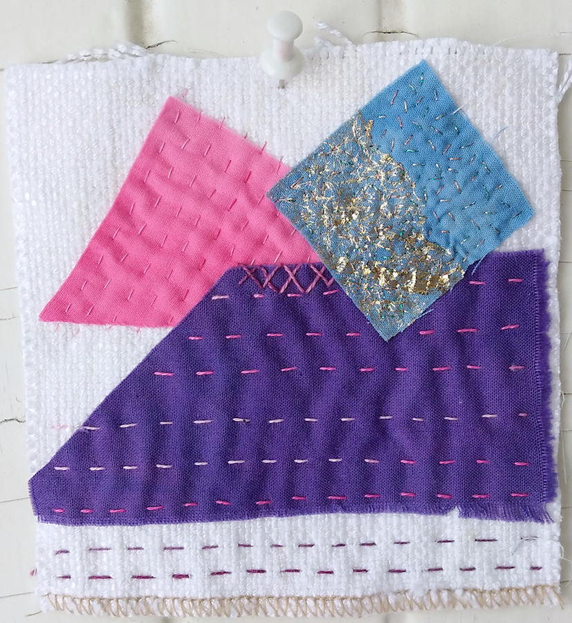 white background stitched with purple, pink and blue scraps a stitch meditation by doris lovadina lee toronto artist