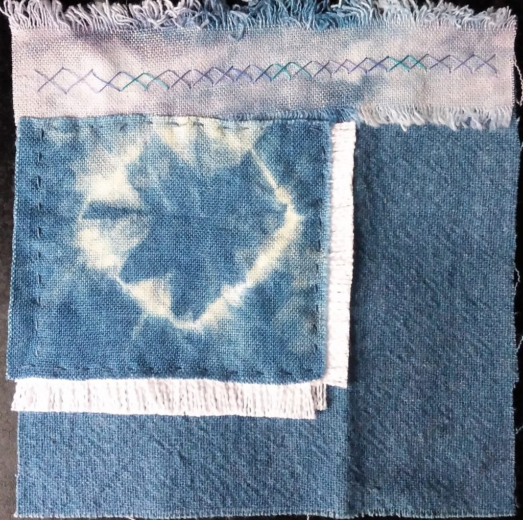 Indigo dyed cotton metallic snow dyed linen five inch square