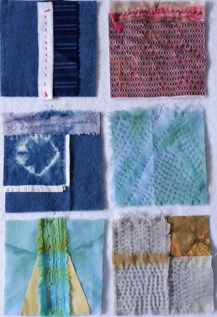 6 hand stitched squares for the 8th month of the 100 day stitch meditation