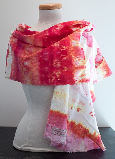 red and yellow linen scarf on mannequin hand dyed doris lovdina-lee toronto canada