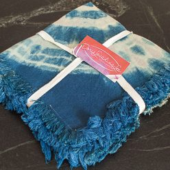 set of 4 indigo napkins tied with white cotton ribbon and business card Doris Lovadina-Lee Designs Textile Artist