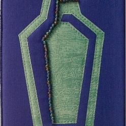 silhoutte of a cocktail shaker in purple and green fabric with bead detail, 4x6 in. made by doris lovadina-lee canadian artist