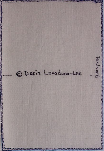 back of a 4x6 cloth postcard with copyright symbol and postcard Doris Lovadina-Lee