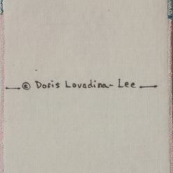 back of a 4x6 cloth postcard with copyright symbol and Doris Lovadina-Lee