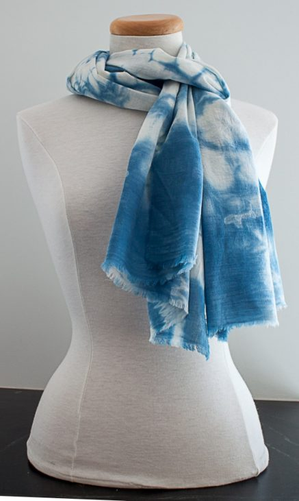 knotted cotton scarf on dressmaker's dummy hand dyed by indigo