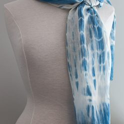 medium blue indigo dyed lightweight scarf with stripe effect and border by doris lee