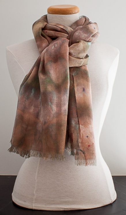 knotted wool snow dyed scarf handmand in toronto ontario canada by textile artist doris lee
