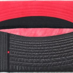red and black fabric quilted picture by doris lovaidna lee