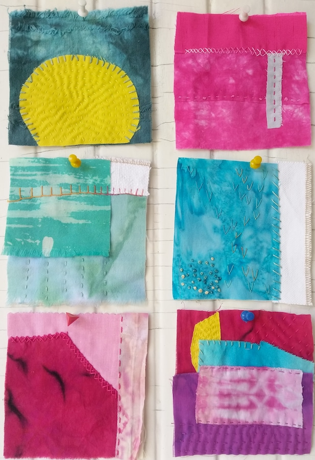 "6 squares of 5"" stitch meditations. Hand embroidered meditations by doris lovadaina-lee textile artist canadian"
