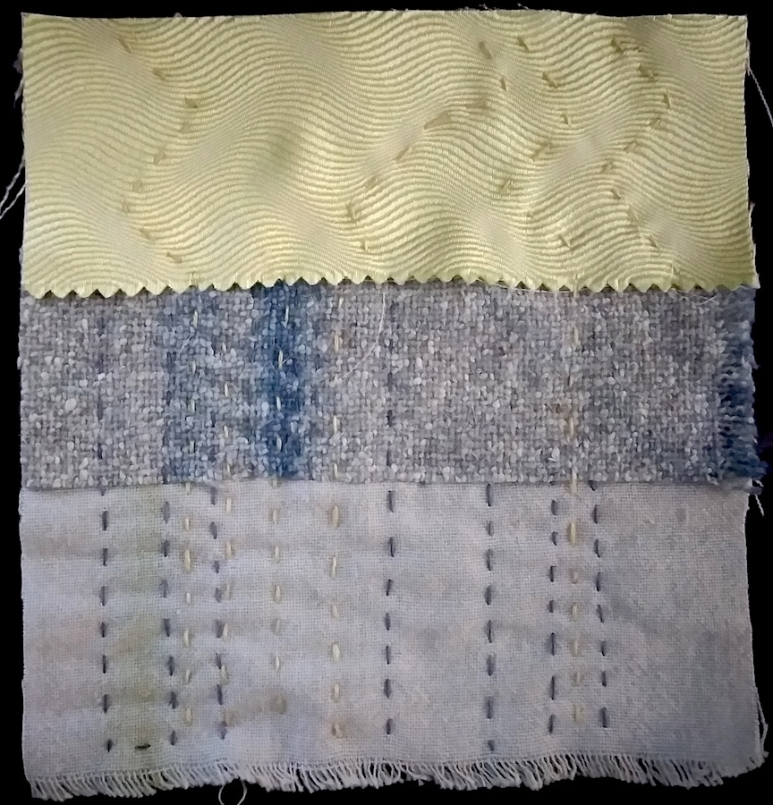 silk, wool and cotton scraps in stitch meditaiton day 66 by doris lee toronto ontario canada