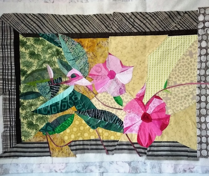 hibiscus flower art quilt ready to be machine stitched by dorisl lovadina lee